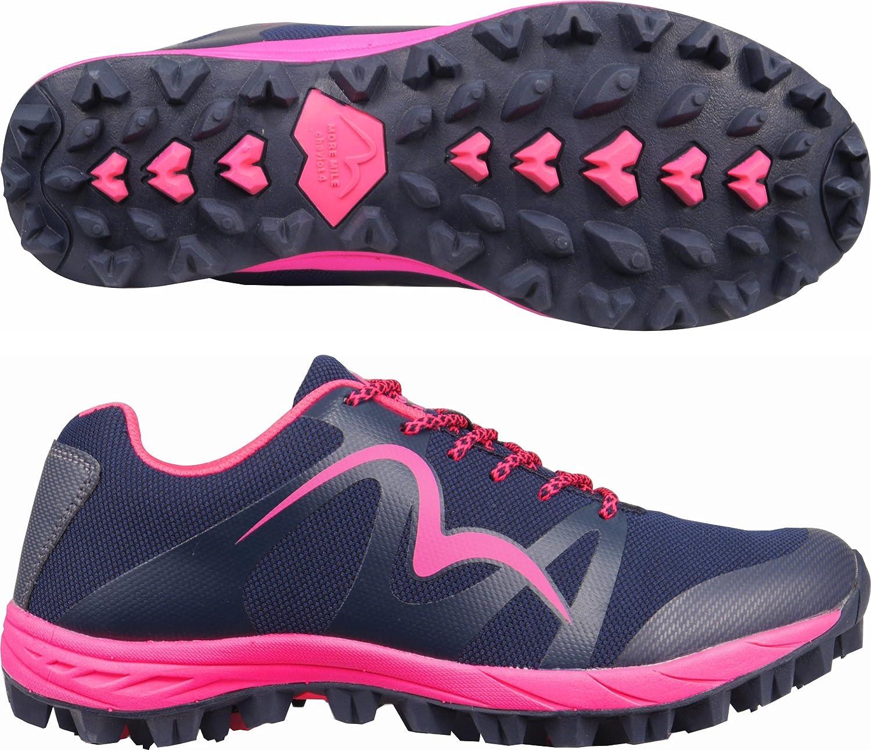 More Mile Cheviot 4 Femme Sentier Chaussures De Course Offroad Baskets Bleu Rose
