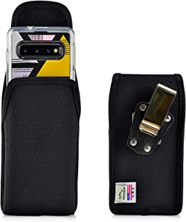 product image for Turtleback Belt Clip Case Designed for Galaxy S10 Fits with OB Symmetry, Vertical Holster Black Nylon Pouch with Heavy Duty Rotating Belt Clip, Made in USA
