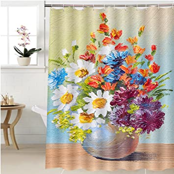 Amazon Gzhihine Shower Curtain Drawing Flowers In A Vase Oil