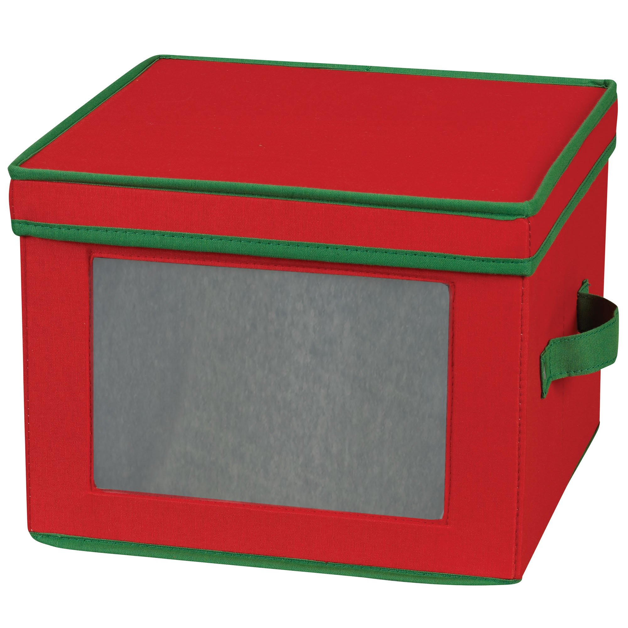 Household Essentials 536RED Holiday China Storage Chest with Lid and Handles | Dinner Plate | Red Canvas with Green Trim by Household Essentials