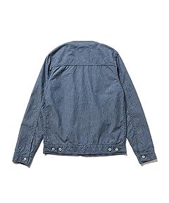 Chambray Collarless Jean Jacket 51-18-0243-794: Blue