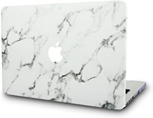 "KECC Laptop Case for MacBook Air 13"" Retina (2020/2019/2018, Touch ID) Italian Leather Hard Shell Cover A2179/A1932 (White Marble Leather)"