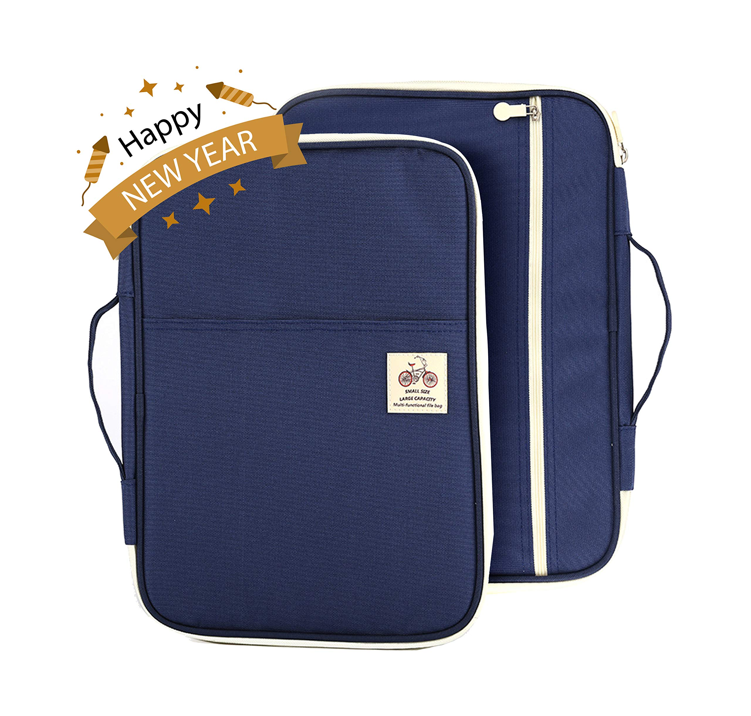 Lazyaunti Document Portfolio Padfolio Folders Organizer Binder Multi Function Water Repellent Travel Pouch Zipper Case for Laptop, Ipad, Kindle, Notebook, Pen (Navy Blue)