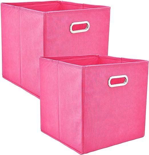 real,- QUALITY - Caja de almacenaje (2 Unidades, 30 x 30 x 30 cm, Apertura de Metal Cromado, Refuerzo Lateral y de Suelo, Plegable), Color Rosa: Amazon.es: Hogar