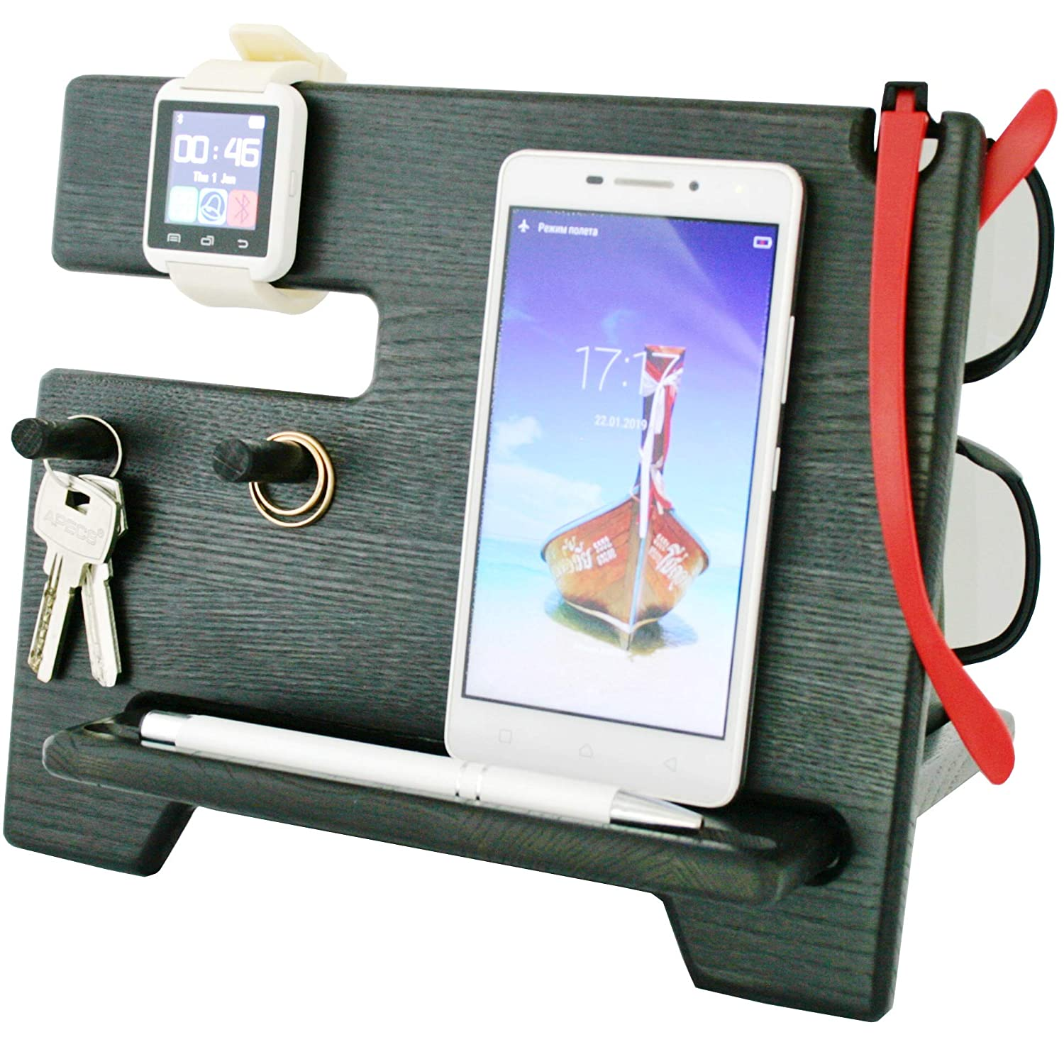 1x Auto Car Storage Mobile Phone GPS Charge Box Holder Pocket Organizer Black