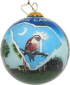 Art Studio Company Hand Painted Glass Christmas Ornament - South Carolina State Images