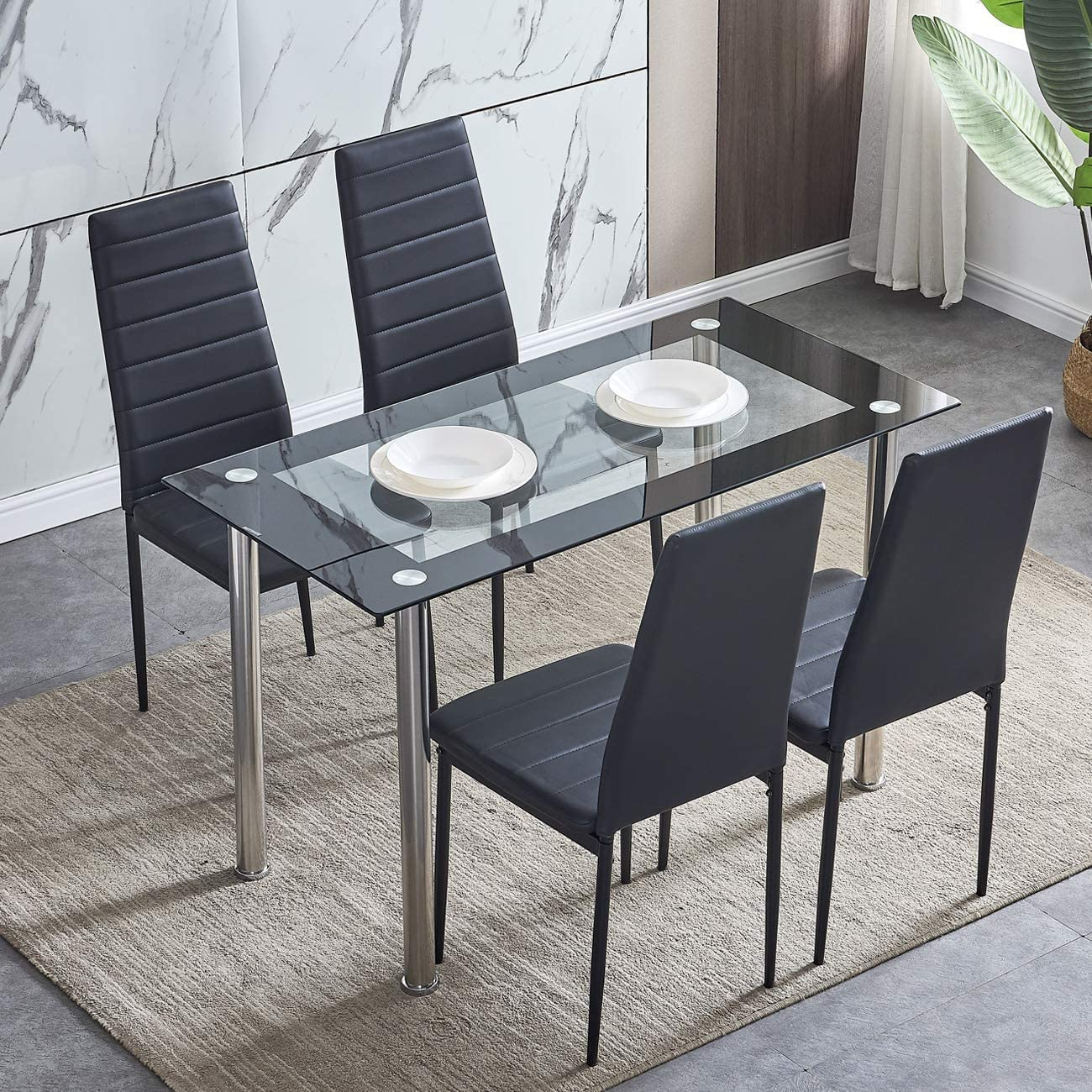 Table Only Black Leg Huisen Furniture Modern Glass Top Dining Table Kitchen Rectangular Table Metal Legs Sets Contemporary Home Living Room Table 4 6 8 People Use