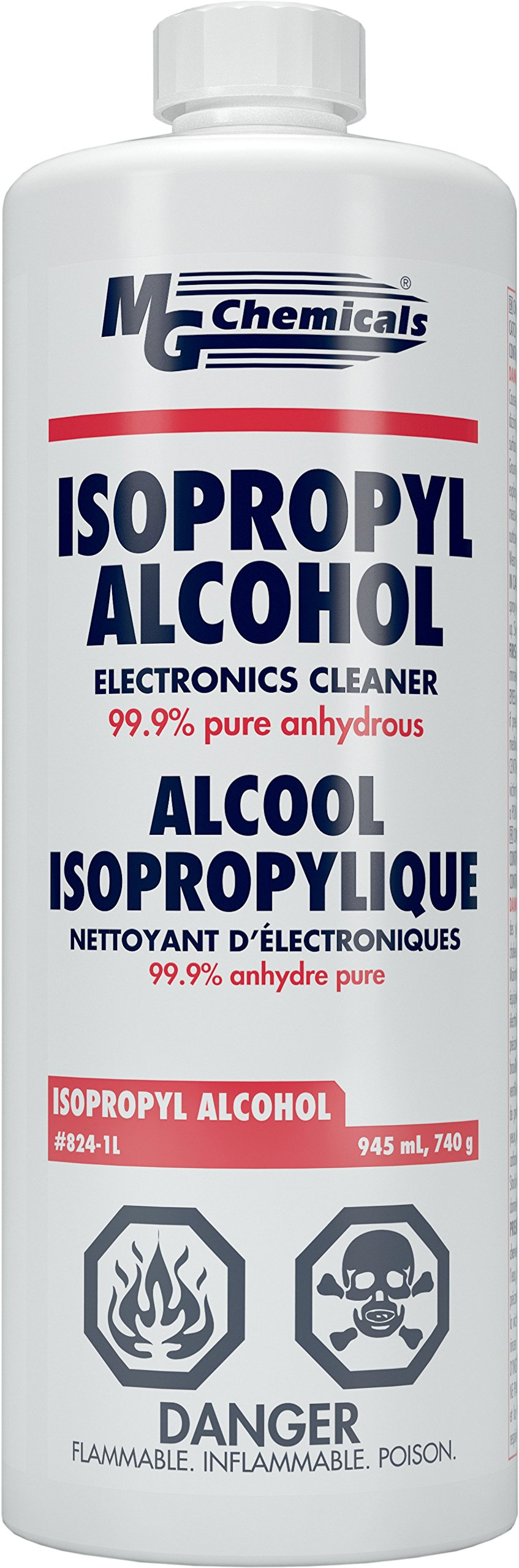 MG Chemicals 824-1L 99.9% Isopropyl Alcohol Liquid Cleaner, Clear, 945 mL (1 US Quart)