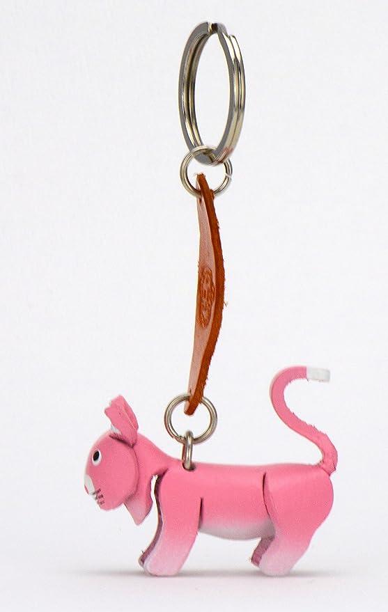 Monkimau Europea de pelo corto de gato Felix - Pequeños Gatos de llaves colgante de piel, una idea de regalo para mujeres y hombres en la banda de gato ...
