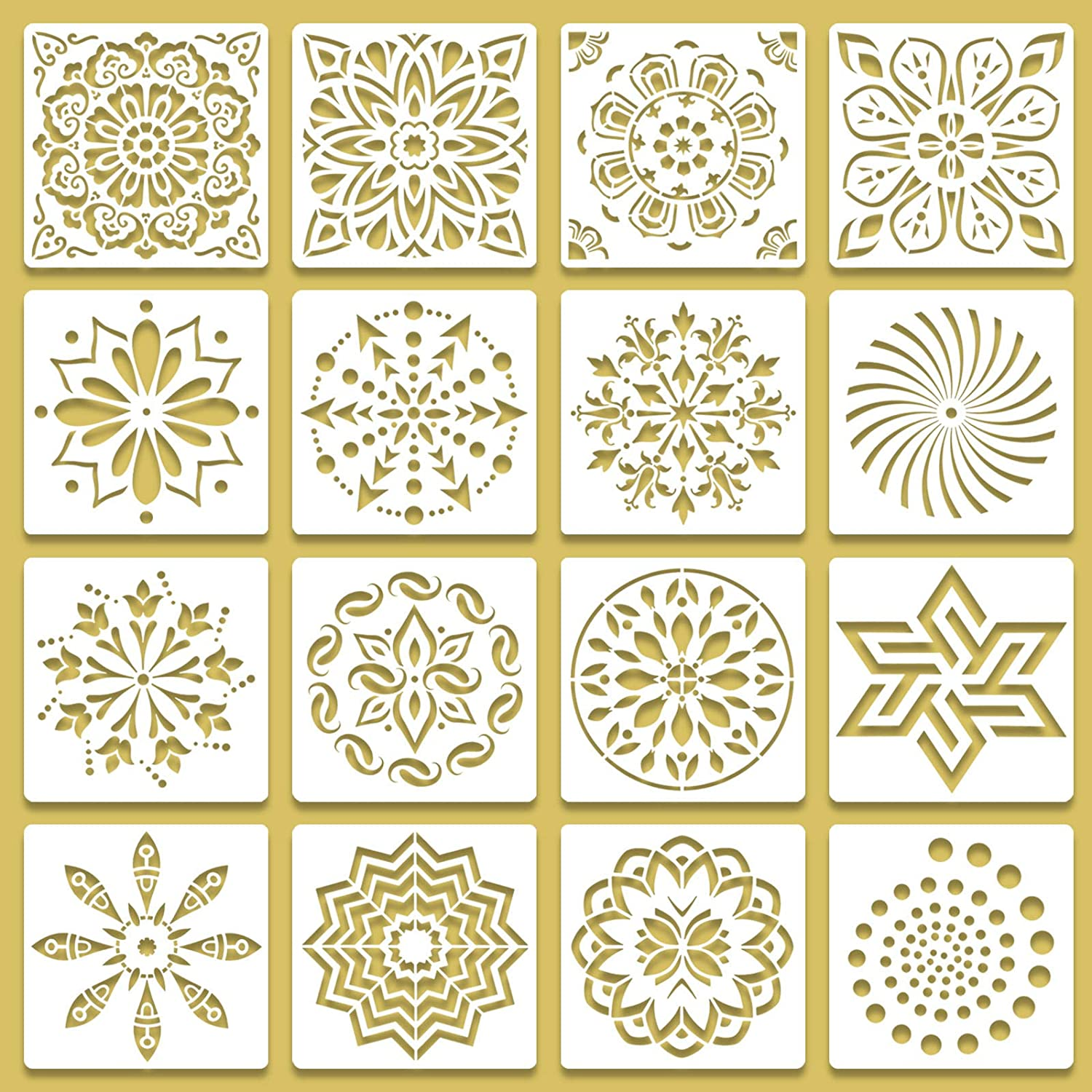 16 Pack Mandala-Stencils for Painting 6 x 6 Inch, Reusable Geometiric-Stencils-Templates for Dot Painting, Rocks, Wall-Stencils for Painting Pattern on Furniture, Airbrush, Tiles, Floors, Canvas