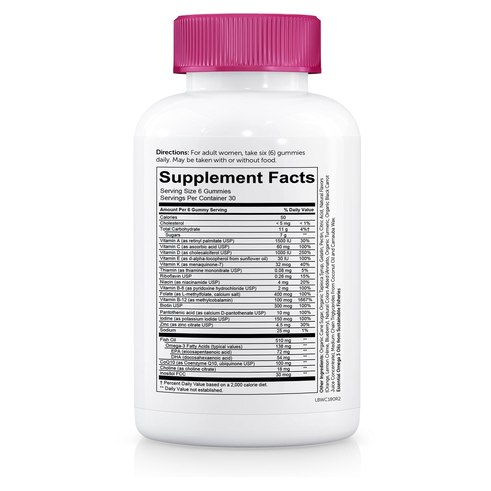 SmartyPants Women's Complete Gummy Vitamins: Gluten Free, Multivitamin, CoQ10, Folate (Methylfolate), Vitamin K2, Vitamin D3, Biotin, Methyl B12, Omega 3 DHA/EPA Fish Oil, 180 count (30 Day Supply) by SmartyPants Gummy Vitamins (Image #5)