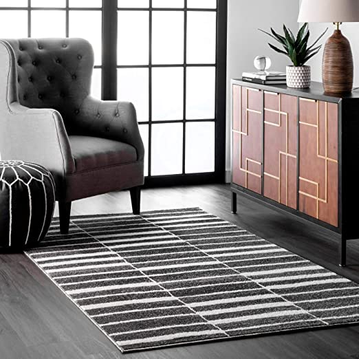 Amazon.com: nuLOOM Cora Abstract Stripes Area Rug, 8' x 10', Black