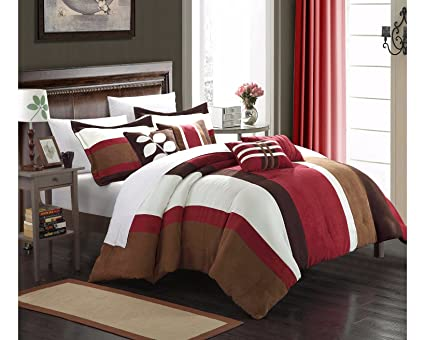 Ordinaire Chic Home 7 Piece Highland Plush Micro Suede Striped Comforter Set, King,  Burgundy