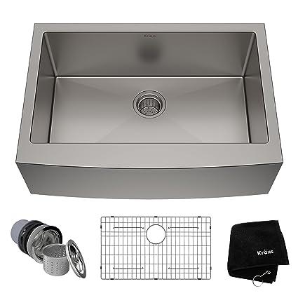 Kraus KHF200-30 Standart PRO Kitchen Stainless Steel Sink, 30 Inch Round  Apron Single Bowl