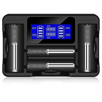 Semoic Cargador de bateria Universal, LCD 4-Slots Mostrar ...