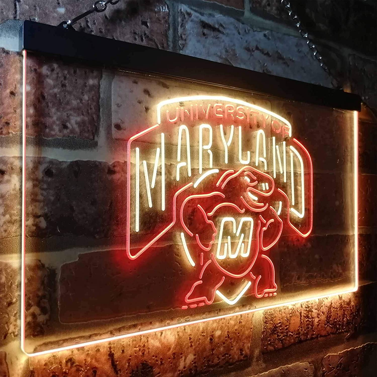University of Maryland Terrapins Colorful LED Neon Sign Red and Yellow w12 x h8