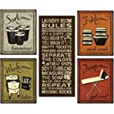 Trendy & Extremely Popular Humorous Laundry Room Rules and Laundry Sign Posters; One 8x18in Poster Prints and Four 8x10in Poster Prints