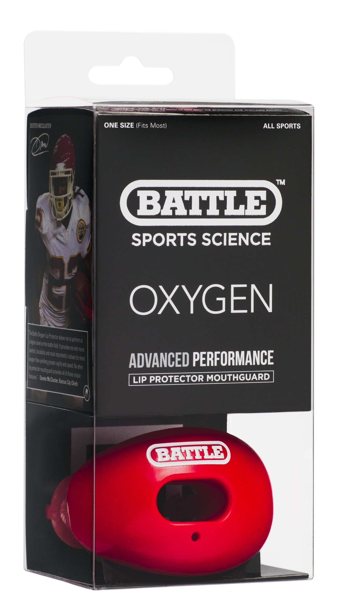 Battle Oxygen Lip Protector Mouthguard, Red by Battle