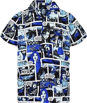 King Kameha Original Camisa Hawaiana | Caballeros |XS - 6XL | Manga Corta | Bolsillo Delantero | Estampado Hawaiano | Cómic: Amazon.es: Ropa y accesorios