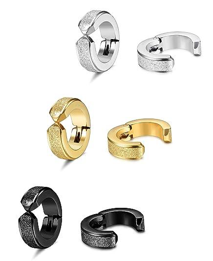 86451a8b81cb6 ORAZIO 3-4 Pairs Stainless Steel Clip On Earrings for Men Women Hoop Huggie  Earrings Non Piercing