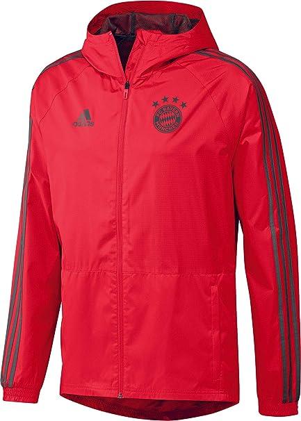 fda975a1515 Amazon.com : adidas 2018-2019 Bayern Munich Rain Jacket (Red) - Kids ...