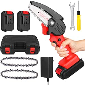 CawBing Mini Chainsaw, 4-Inch Electric Cordless Electric Chainsaw with Rechargeable Battery, Protable Chainsaw Handheld Cordless Chainsaw Pruning Shears Chainsaw for Tree Branch Wood Cutting (Red)