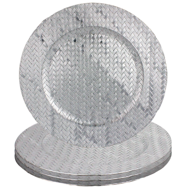 Basket Weave Design 13'' Round Plastic Charger Dinner Plates by bogo Brands (Silver Set of 50)