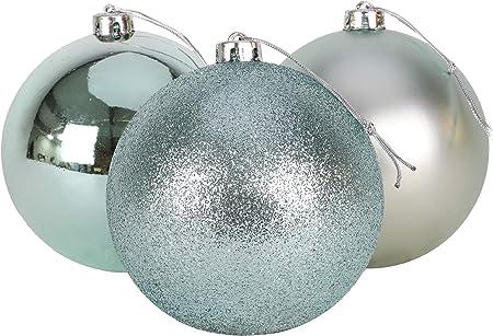 Christmas Concepts® Pack de 3 - Adornos de árbol de Navidad Extra Grandes de 150 mm - Adornos Brillantes, Mate y con Brillo (Azul Hielo): Amazon.es: Hogar