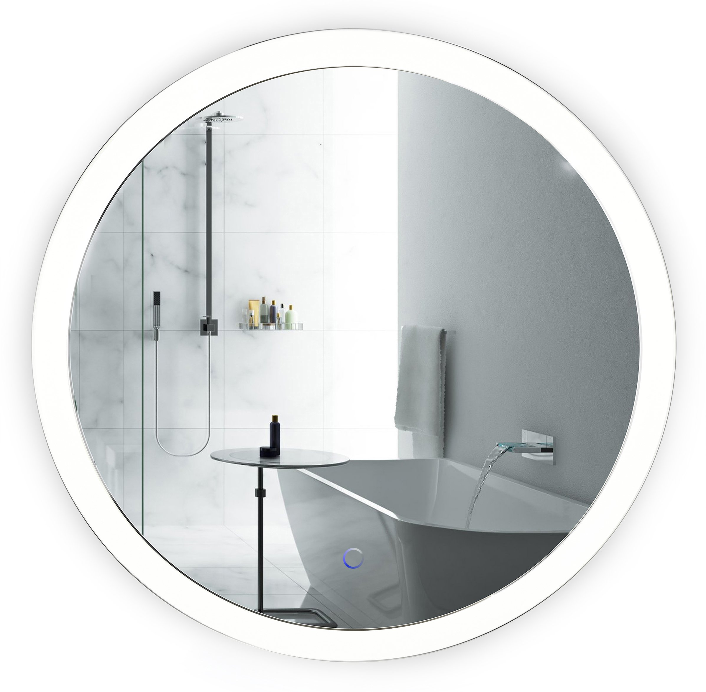 LED Bathroom Round Mirror 27 Inch Diameter | Lighted Vanity Mirror Includes Dimmer and Defogger | Silver Backed Glass