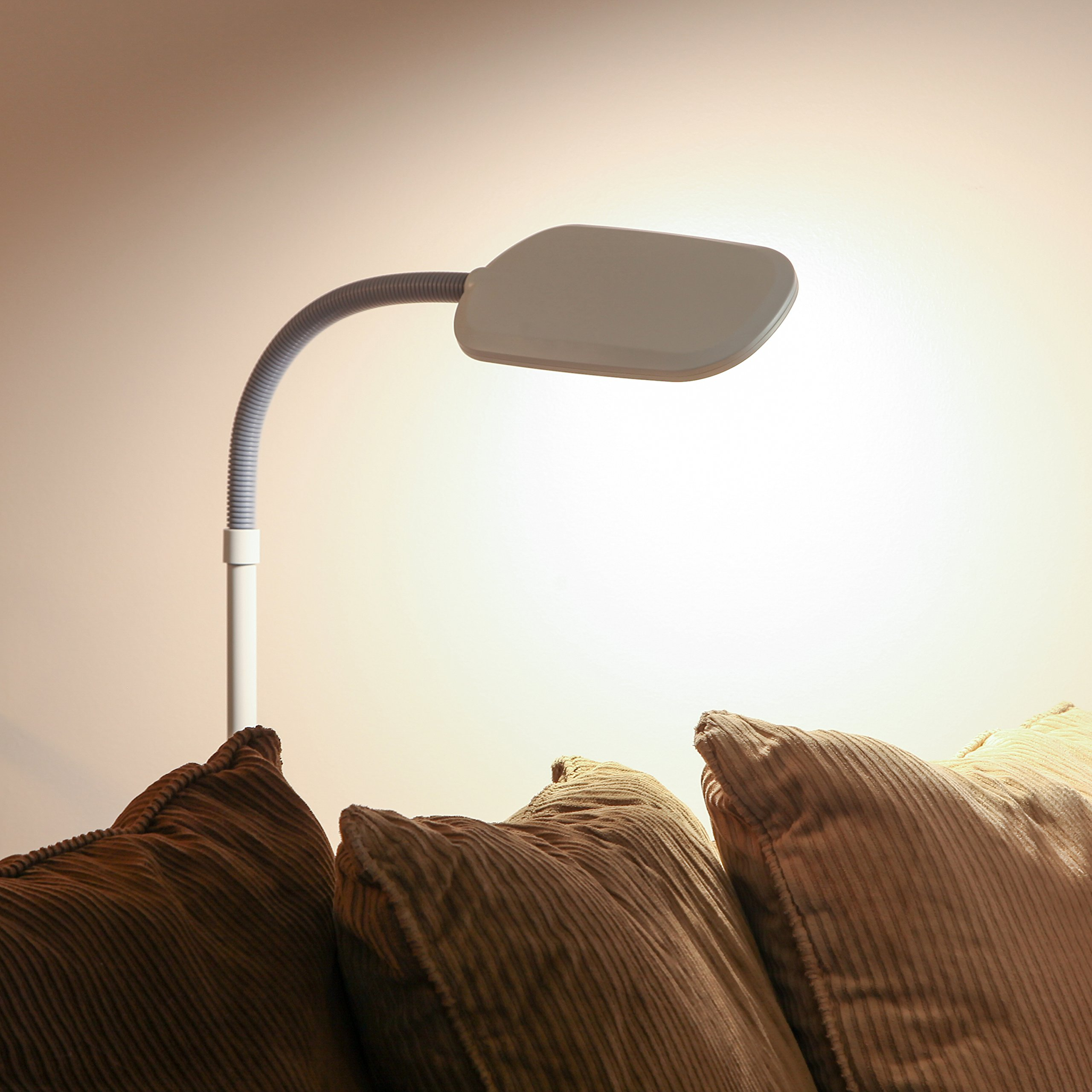 Brightech Litespan 2nd Edition LED Reading & Craft Floor Lamp - Dimmable & Light Color Adjustable with Touch Switch - Standing Tall Pole Task Lamp with Gooseneck for Office - Alpine White by Brightech (Image #7)