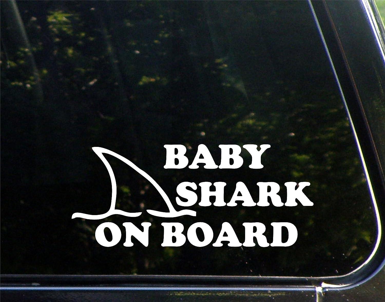 "Diamond Graphics Baby Shark On Board (8-3/4"" X 3-3/4"") Die Cut Decal Bumper Sticker For Windows, Cars, Trucks, Laptops"