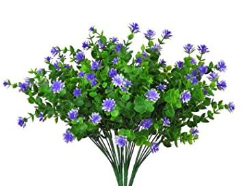 Livissima 4pcs Small Artificial Purple Spring Faux Flowers Fake Plastic  Greenery Plants Shrubs For Indoor Outdoor
