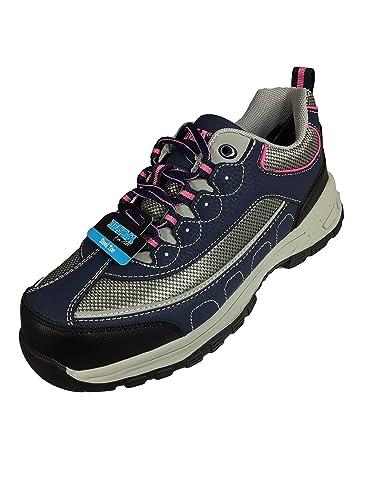 47005bc29a7 Brahma Women's Sacha Steel Toe Navy Grey Low Work Shoe