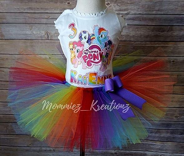 66826b46c970 Amazon.com: My Little Pony Tutu, MLP Birthday Outfit, Rainbow Dash Birthday,:  Handmade