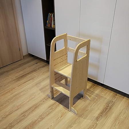 AtviKids Torre Montessori Con 5 Altezze Regolabili   Ayudante Cocina   Taburete Cocina   Torre Actividades   Taburete Escalada (Natur)
