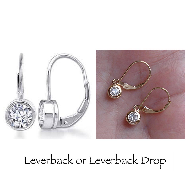 Amazon 1 2 Carat Bezel Diamond Leverback Drop Earrings not