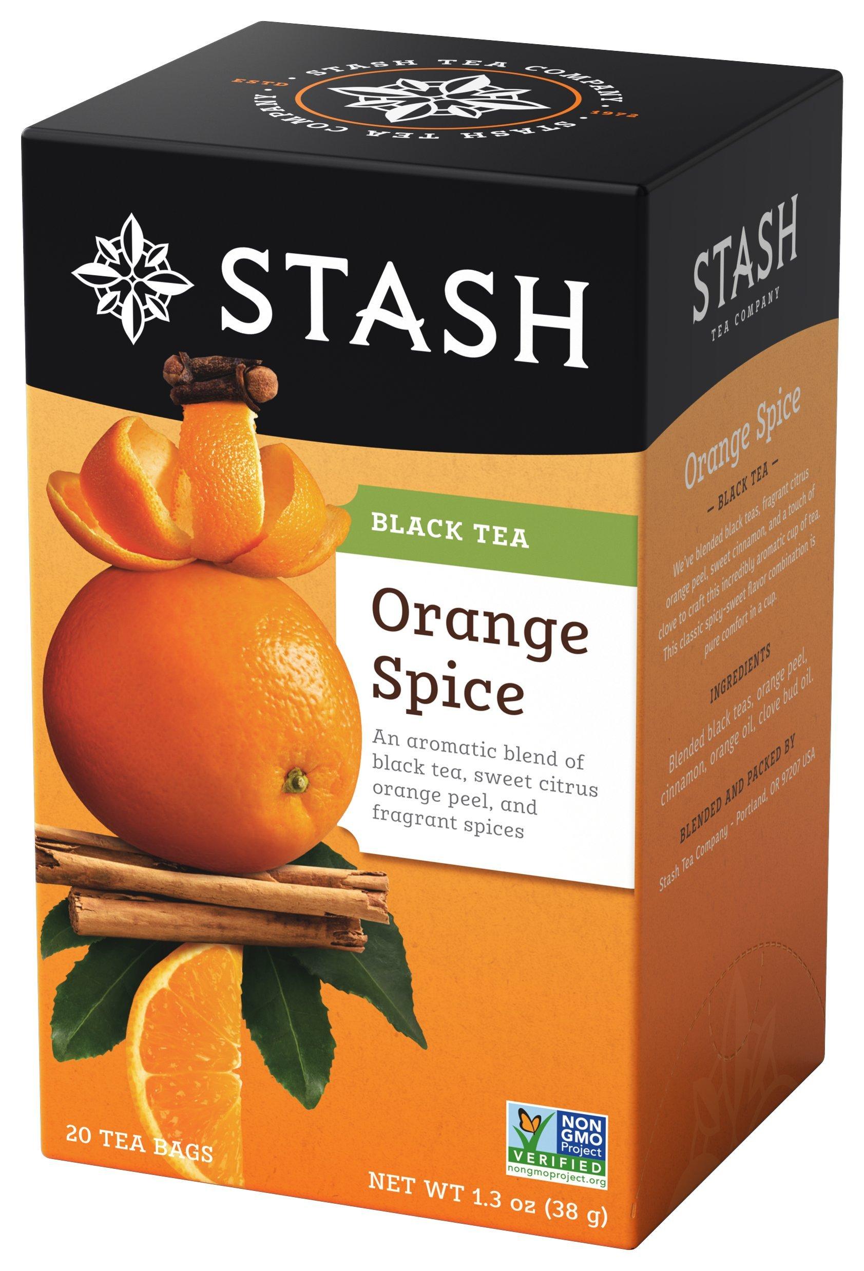 Stash Tea Orange Spice Black Tea 1.3 oz 20 Count Tea Bags in Foil (Pack of 6) Individual Black Tea Bags for Use in Teapots Mugs or Cups, Brew Hot Tea or Iced Tea