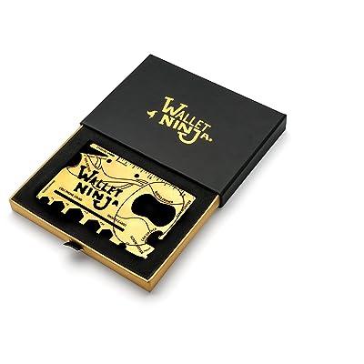 Édition limitée Doré Portefeuille Ninja 18en 1multi-usages carte de crédit sized Outil multifonction avec boîte cadeau et certificat d'authenticité, or