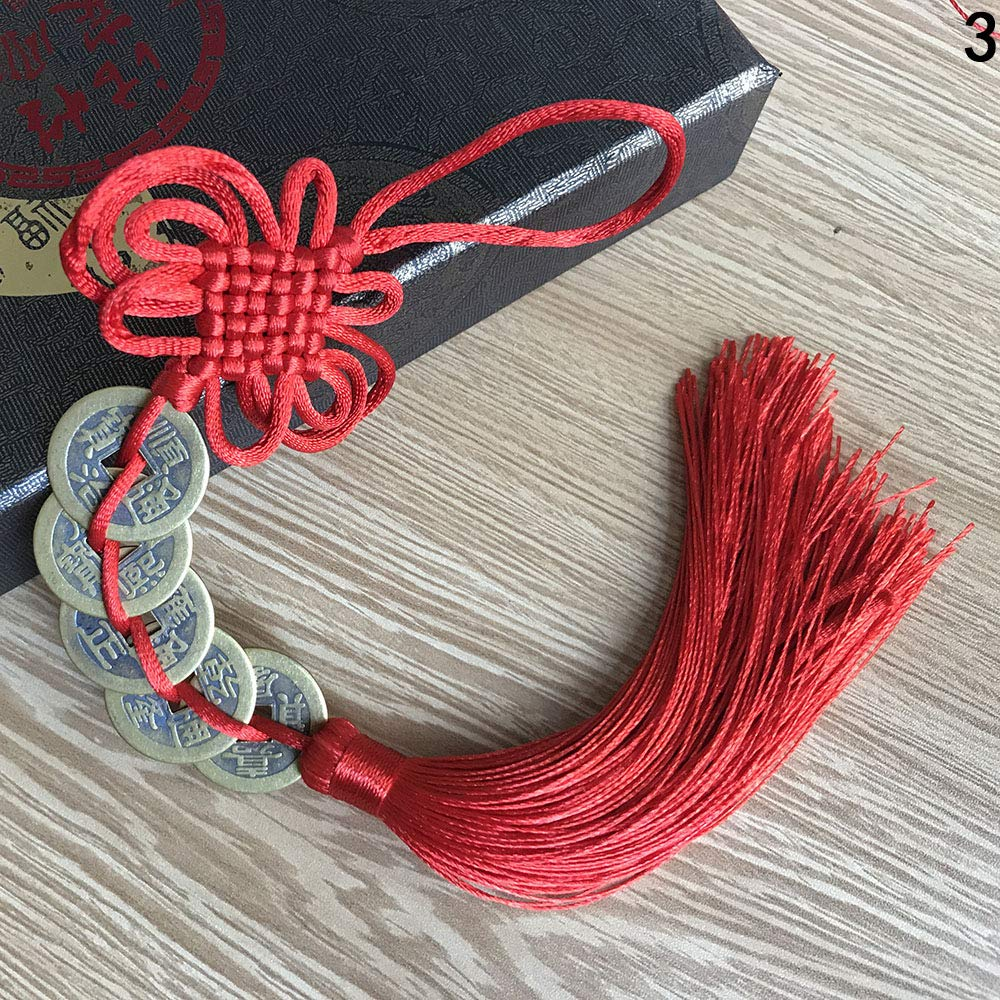 JBGER Good fortune Home Decoration lucky charm Car Hanging Decor Red Chinese Knot Chinese Ancient Coins Tassel String Mascot
