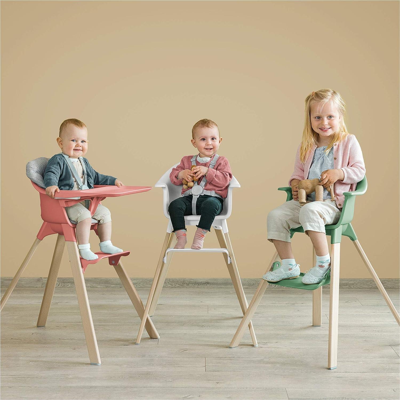 Trona de madera con arn/és y bandeja │ Silla de beb/é para comer con asiento y reposapi/és ajustables │ Port/átil │ color Stokke Clikk White