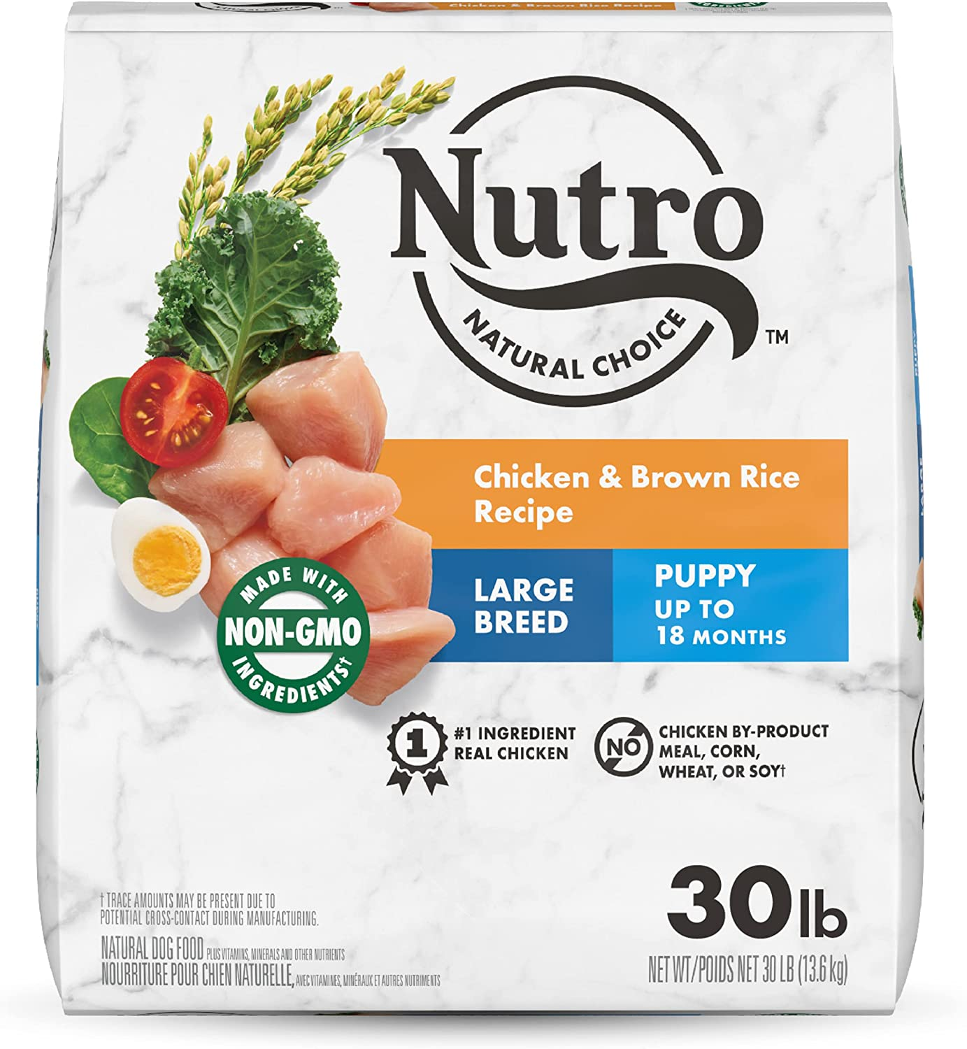 NUTRO NATURAL CHOICE Large Breed Puppy Dry Dog Food, Chicken & Lamb, 30 lb. bags