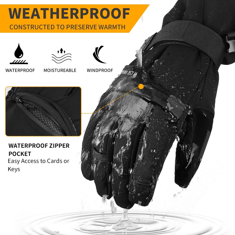 Waterproof Snowboard Gloves Winter Warm Gloves Insulated Thermal Gloves for Skiing Skating Snowboarding Shoveling Under 30℉ Cevapro Ski Gloves