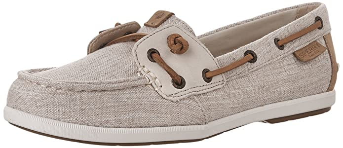 Sperry Top-Sider Women's Coil IVY Leather/Canvas Boat Shoe, Linen, 7.5 M US