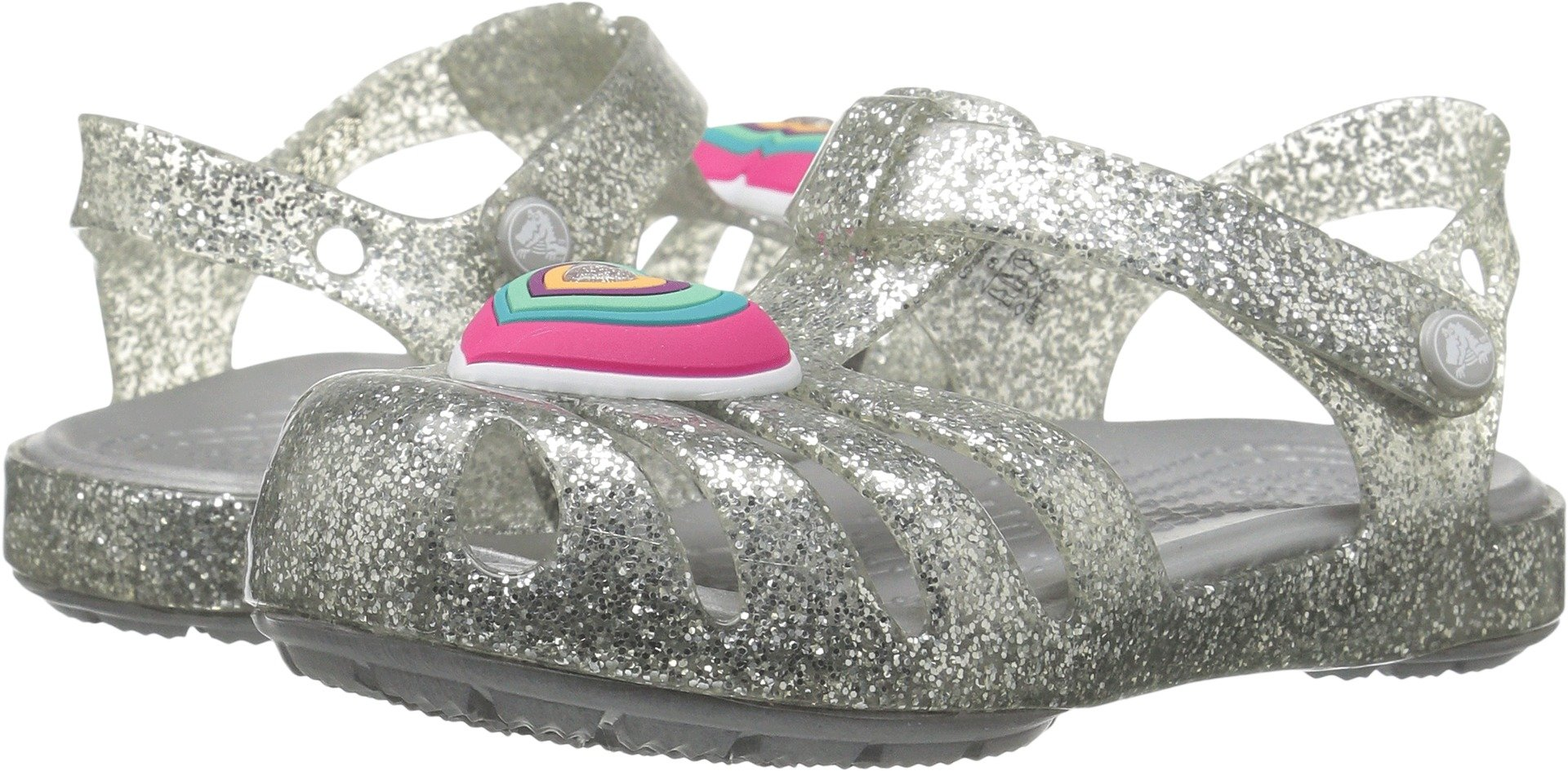Crocs Girls' Isabella Novelty Flat Sandal, Silver, 9 M US Toddler