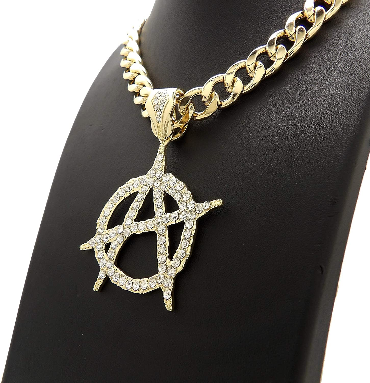 Fashion 21 Stone Filled Anarchy Symbol Pendant Various Chain Necklace