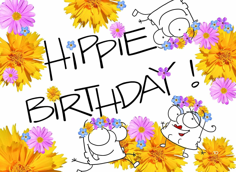 Grimmis - cumpleaños: hippie Birthday. - Postal DIN A6 ...
