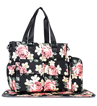 d6a8022b122085 Amazon.com : Womens Large Floral Diaper Bag Waterproof Tote Messenger Bag  Changing Pad Black : Baby