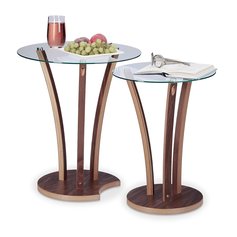 Relaxdays Beistelltisch rund 2er Set, Glastisch mit Holzbeinen, 2 ...