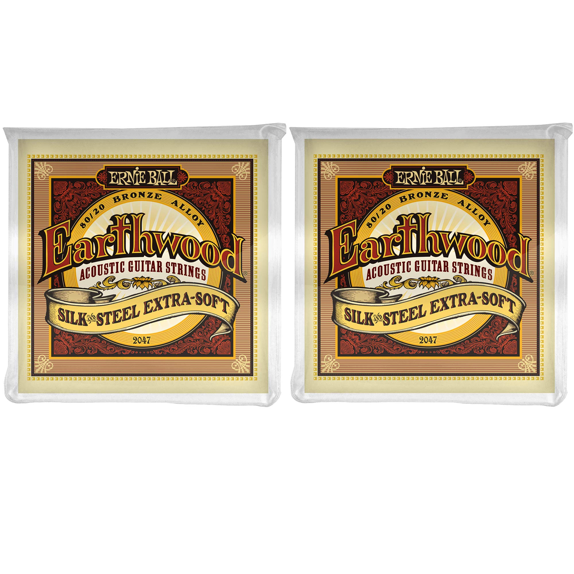 Ernie Ball 2047 Earthwood Silk and Steel Extra Soft Acoustic Strings 10-50 2 Pack Bundle by ErnieBall.