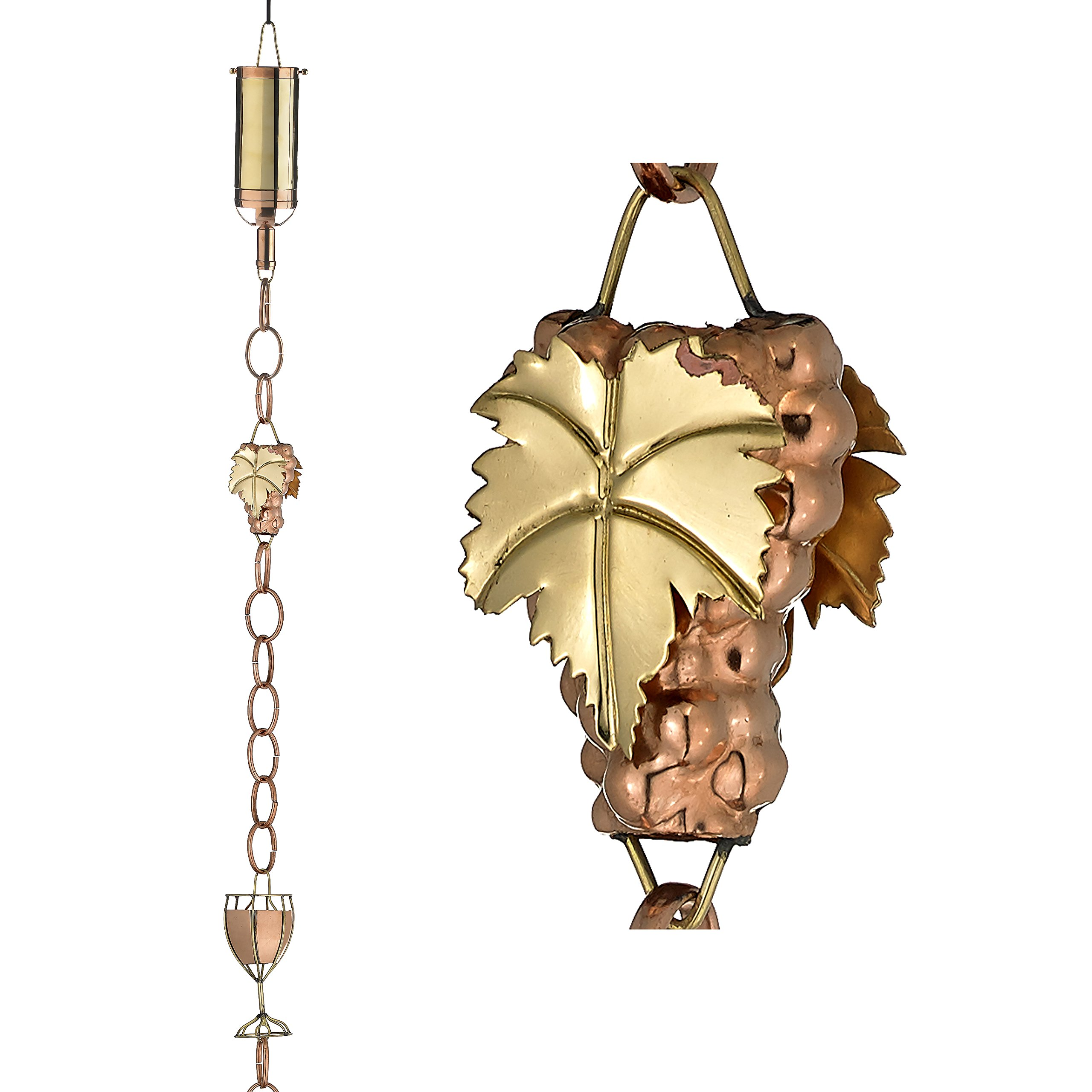 Good Directions Wine Bottle with Grapes & Glasses Pure Copper 8.5-Foot Rain Chain